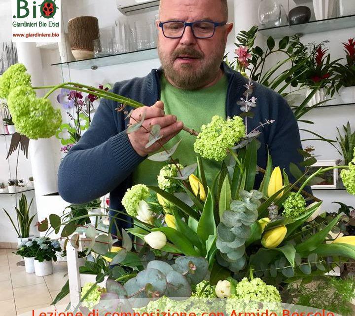 Lezione di composizione con il fiorista Armido Boscolo alla Primula Gialla di Mestre